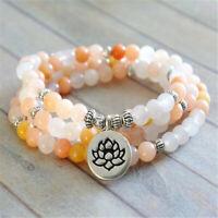 6MM Aventurine Rose Bracelet 108 Beads Lotus Pendant Pray Wrist Spirituality