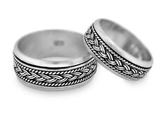 His & Her Braided knot Sterling Silver Spinning Wedding Band Set Promise Rings