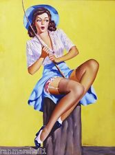 1940s Pin-Up Girl Look What I Caught! Picture Poster Print Vintage Art Pin Up