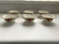 """6 Royal Albert """"Old Country Roses"""" 2 Handled Bowls in excellent condition."""