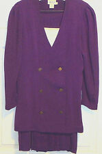 Women's Leslie Fay Purple 2 Piece  Blazer and Skirt Business / Dress size 8