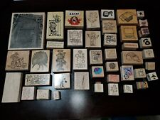 Huge Lot of 43 Misc Wood Mounted Rubber Stamps