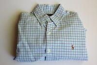 Ralph Lauren Polo Navy Green Checks Plaid Long Sleeve Button Front Shirt (M)