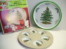 Vinatage Christmas Metal Tray and Coaster Set 7 pieces Japan 1967 Xmas Tree