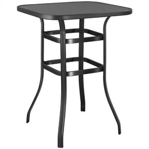 Metal Patio Bar Table, 40.5'' Height High Top Outdoor Table, Square Table, Black