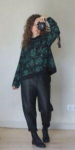 KEKOO black green floral romantic lagenlook top size M