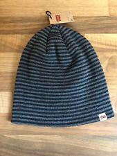 LEVIS Stripe Knitted  Beanie Hat Blue Grey Genuine Brand New S / M