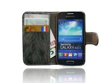 Handy-Tasche für Samsung Galaxy Ace 3 S7275 Book-Style + Folie // Anthrazit