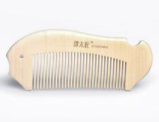 Natural Wooden Hair Comb Handmade Fish Design Fine Tooth Antistatic Tan Mujiang