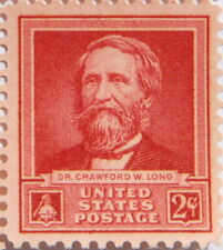 1940 Dr Crawford W. Long 2 Cents US Postage Stamp New with Original Gum