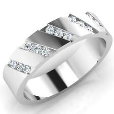 0.23 Ct Real Diamond Engagement Band 14K Solid White Gold Mens Ring Size U W