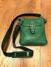 Coach Green Leather Swingpack Crossbody With Canvas Leather Strap