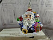Radko party patriot fat santa billy bunny signed blown ornament glass xmas tree