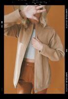 Patagonia Womens Size Small Wool Tan Camel Moto Jacket Coat Full Zip
