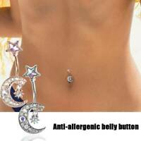 Sexy Moon Surgical Steel Belly Button Rings Navel Ring Body Piercing Jewelry