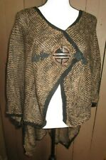 SOFT SURROUNDINGS one size brown black speckle front closure poncho sweater