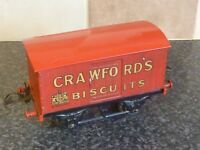 VINTAGE HORNBY TRAINS 'O' GUAGE RED PRIVATE OWNERS VAN CRAWFORD'S BISCUITS