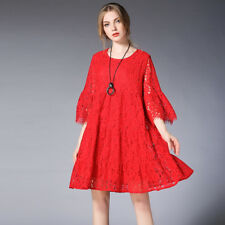 Spring new plus size dresses lace Hollow out fold oversize Maternity mini dress