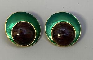 Vintage YSL Yves Saint Laurent Green Enamel Clip Earrings