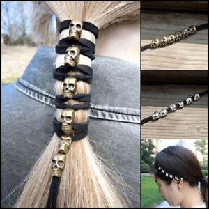 Vintage Punk Metal Skull Hair Band Ornaments DIY Women Ponytail Styling Head`hw