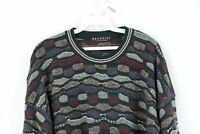 Vtg 90s Coogi Style Mens XL Textured Striped Multi-Color Biggie Smalls Sweater