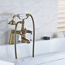 Antique Brass Deck Mounted Clawfoot Bathroom Tub Faucet with Handshower