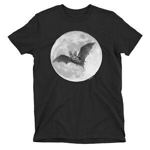Moonlight Bat T-Shirt HALLOWEEN Spooky Costume Party Womens Mens ORGANIC Scary