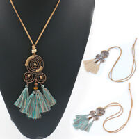 Women Sweater Chain Pendant Beaded Tassel Necklace Crystal Jewelry Gift Fashion