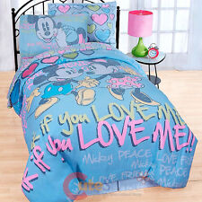 Disney Mickey Minnie Mouse 7pc Full Size Bedding Comforter Set Sheet Pillow Set