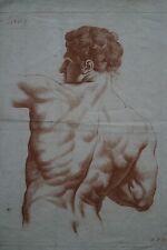 Eau-Forte sanguine »Male étude de Dos » XVIIIè