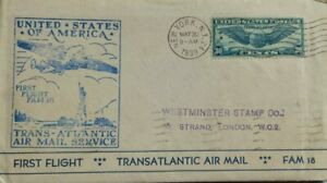 UNITED STATES 1939 PAN AMERICAN FIRST FLIGHT AIRMAIL COVER TO ENGLAND VIA FRANCE