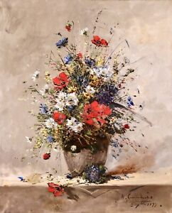 HENRI CAUCHOIS (1850-1911) LARGE SIGNED 1877 FRENCH IMPRESSIONIST OIL - FLOWERS