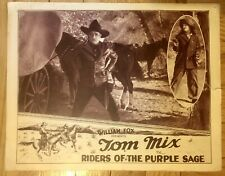 TOM MIX- Riders of the Purple Sage- Rare Original Lobby card-Cowboy Western-1925