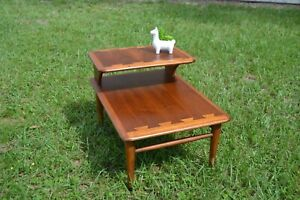 ONE Lane Mid-Century Modern Dovetailed Inlaid 2-Tier Side / End Table, 0900-07