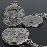 Stylish 50 Year Calendar Key Chain Keyring Keyfob Metal Alloy Ring Compass EW-SL