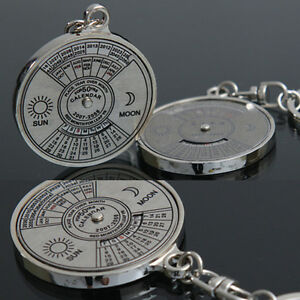Stylish 50 Year Calendar Key Chain Keyring Keyfob Metal Alloy Ring Compa_hg