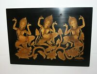 Dancing Topless Women Lacquer Wood Wall Hanging Plaque Nepalese Hindu Signed