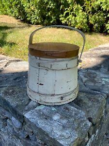 Antique Painted Firkin / Nice 7 1/2 diameter size