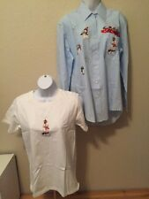 NEW 2pcs Women's Iron-on Embroidered Applique Holiday T-Shirt/Blouse Set Sz Sm