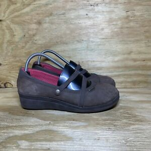 Crocs Mary Jane Wedge Shoes Womens Size 10 Brown Slip On Comfort
