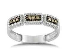 Chocolate Brown Diamond Ring .925 Sterling Silver Diamond Band .15ct Size 6