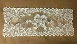 """Lace Table Runner Ivory 14.5"""" x 36"""" Christmas Holly Pine Cones and Bell"""
