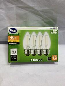 Great Value LED Light Bulbs 4W (40W) B10 Deco Lamp E26 Medium Base-4 Pk