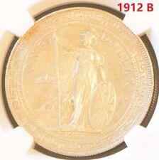 1912 B China Hong Kong UK Great Britain Silver Trade Dollar NGC AU Details