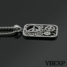 Men Stainless Steel Silver Gold Personality Gear Tag Pendant Chain Necklace