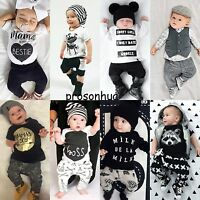 2pcs Newborn Toddler Infant Baby Boy Girls Clothes T-shirt Tops+Pants Outfit Set