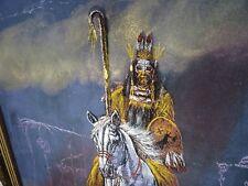 Vintage oil on velvet Indian on horse Aurora Borealis décor Phantom Cemetery