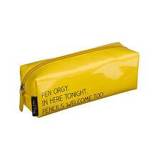 Happy Jackson Stationery Glossy Yellow Pen Orgy Pencil Case Zipper Fun Novelty