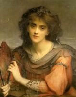 CHENPAT824 hand paint Folding fan girl portrait oil painting art on canvas