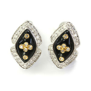 4.2 ctw Natural Black Onyx & Diamond Solid 14k 2-Tone Gold Navette Earrings 19mm